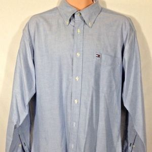 NWOT '90s Tommy Hilfiger Blue L/S Oxford Shirt